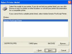 PostScript printer kiválasztása